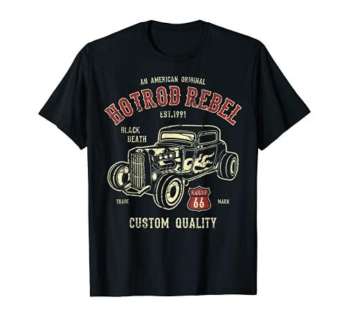 Vintage Hotrod Rockabilly Classic Car Ratrod Ruta 66 Camiseta
