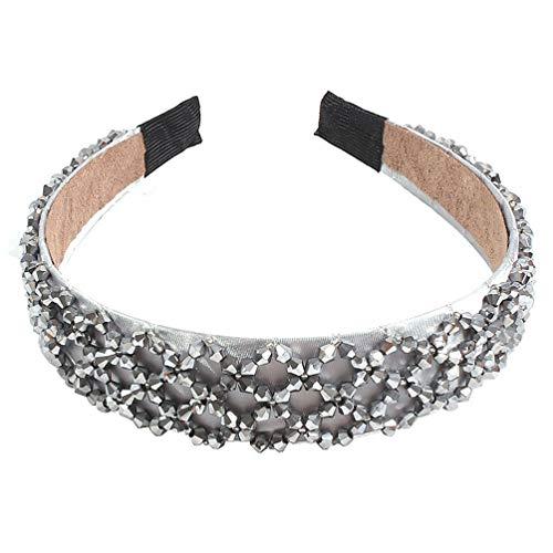 Lurrose diadema de cristal de imitación diadema de borde ancho aro de cabeza de brillo colorido elegante encanto sombreros para mujer niña gris claro