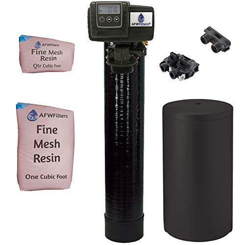 IRON Pro 2 Combination water softener iron filter Fleck 5600SXT digital metered valve for whole house (40,000 Grains, Black)