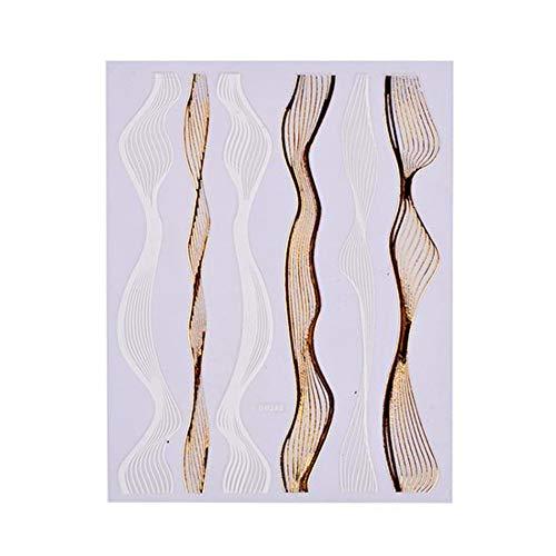 QSDFG 3D Designs Gold Wave Stripe Nail Art Autocollant Multi-Taille Lignes Adhésif Transfert Stickers Manucure Gel Vernis À Ongles Décor