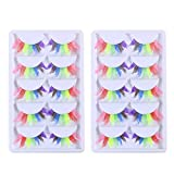 BESTOYARD Clown Fake Eyelashes Rainbow Long Lashes Extension Fancy Ball Accessori trucco Halloween Carnival Masquerade Costume 10 paia