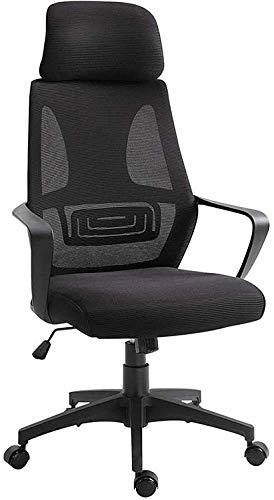 Silla de oficina de oficina de oficina Silla de oficina de silla de trabajo giratoria con espalda alta, silla de escritorio de computadora grande de cuero sintético, diseño de asiento ajustable de dis