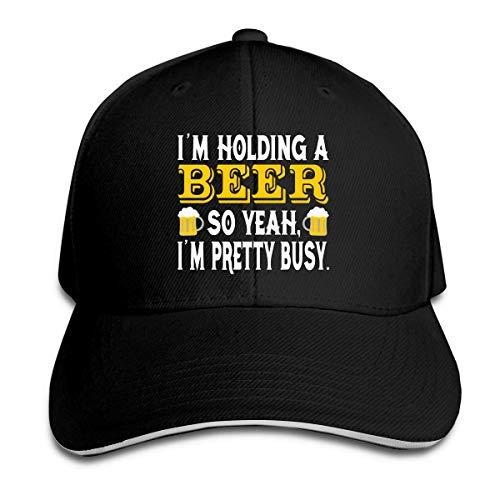 Unisex Estoy sosteniendo una cerveza Gorras de béisbol Sandwich ajustable Bill Gorras de pico Sombrero de deporte al aire libre