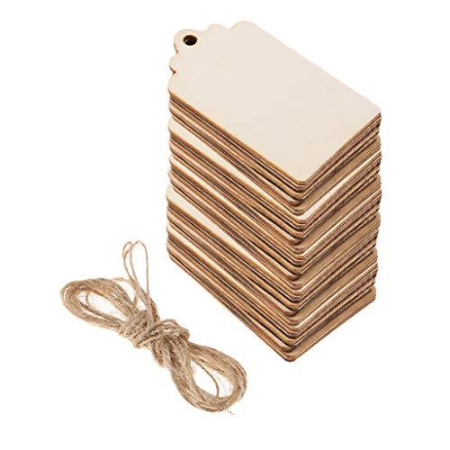 50 Stück Holz Rechteck Form Tag Verschönerung Für Handwerk Mit Seil Weiß
