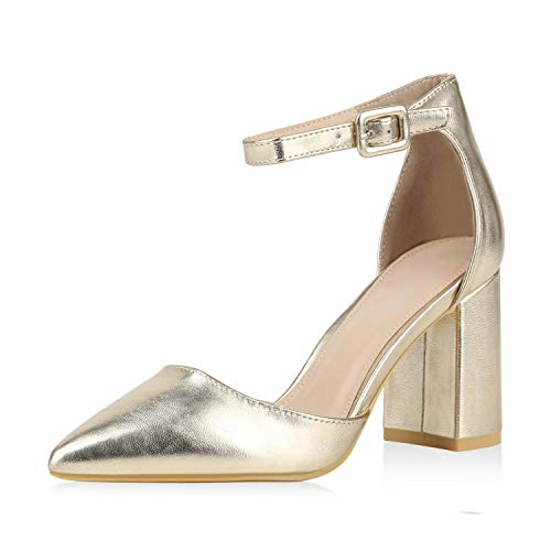SCARPE VITA Damen Spitze Pumps Chunky High Heels Party Schuhe Wildleder-Optik Abendschuhe Elegante Metallic Absatzschuhe 177256 Gold 36