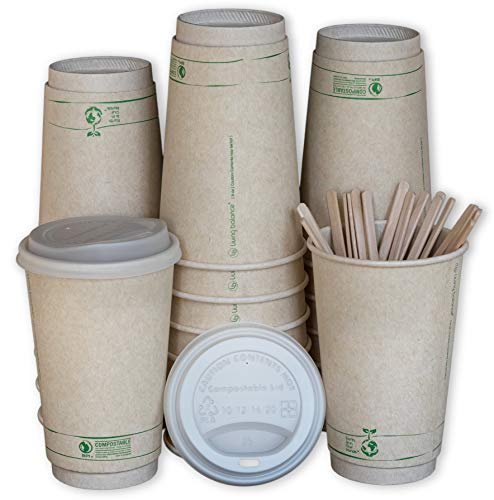 BPI Certified Compostable Cups with Lids, Wooden Stirrers, and Integrated Sleeves (16 Oz)