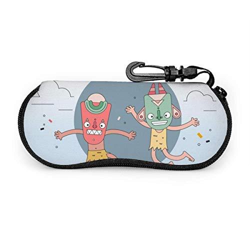 Masques Ethniques Danse Lunettes De Soleil Avec Boucle De Verrouillage Sac Souple Ultra Léger Plongée Tissu Zipper Lunettes Cas