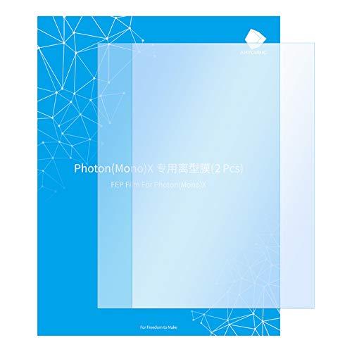 ANYCUBIC 2 PCS 8.9 '' FEP Film, 260 x 175 x 0,15 mm Teflon Film Ersatzblatt für Photon Mono X/Photon X UV LCD SLA Harz 3D Drucker