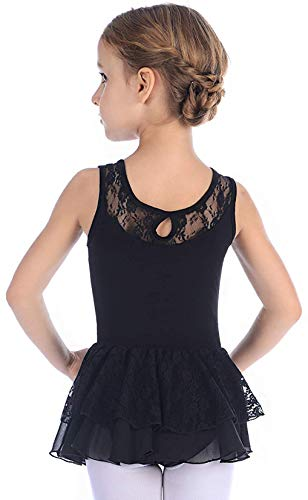 MdnMd Black Dance Lace Skirted Leotard for Girls Kids Ballet Outfit Clothes (Black, Age 6-8)