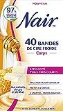 Nair - 40 Bandes de Cire Froide - Corps - aux Extraits de Lait & Miel - Efficacité Poils Très Courts - Peaux Sensibles