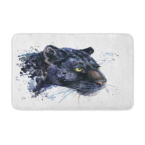 Adowyee 20'x30' Bath Mat Panther Black Jaguar Watercolor Animal Leopard Wildlife Cat Wild Cozy Bathroom Decor Bath Rug with Non Slip Backing