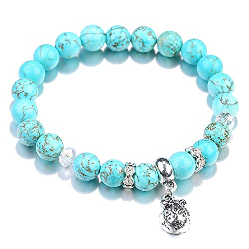 TIANTIAN Natural Stone Round Bead Bracelet Summer Bracelet Crystal Stretch Bracelet for Healing Anxiety Calming