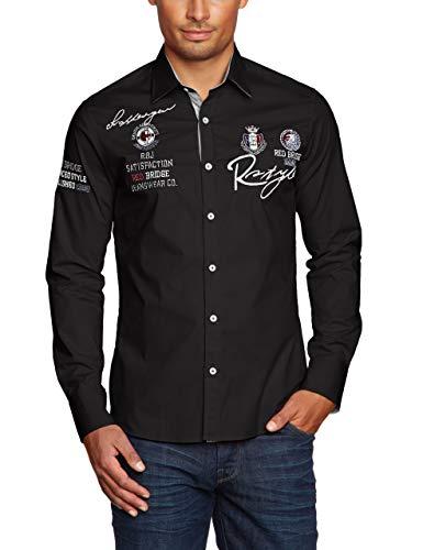 Redbridge Herren Hemd Langarm Freizeithemd Regular Fit Tailliert Bestickt R-Style R-2130 (XXL, Schwarz (Black 012))