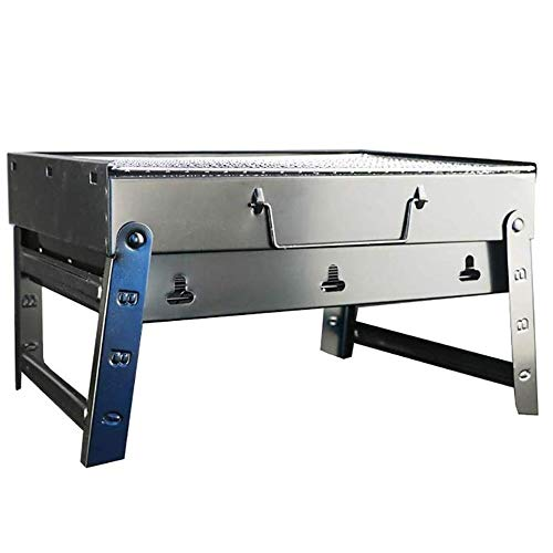YFGQBCP Barbacoa portátil Plegable for la Parrilla de la Barbacoa del Partido de jardín al Aire Libre Barbacoa de carbón de Acero Inoxidable, 44x30x23cm