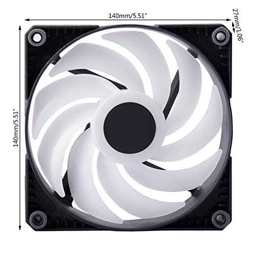 GLASSNOBLE Cooling Fan,RGB LED Rainbow Color Fan 12-14cm PWM Cooling Fan for 5V 3PIN Sync Motherboard 140Mm