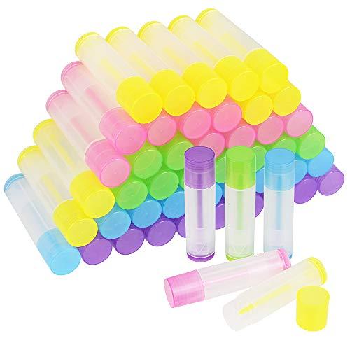 KBNIAN 50 Stück Lippenstifthülsen 5.5ml Leerer Lippenbalsam Behälter Farbig Hülsen für Lippenbalm, selbstgemachten Balsam, DIY Kosmetik