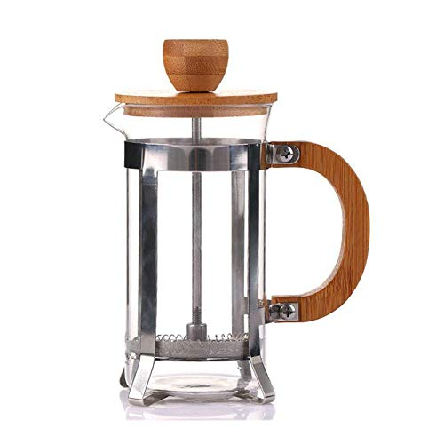 HYZXK Percolador de Prensa Francesa, Cubierta de bambú ecológica, émbolo de café, Tetera, Filtro, Prensa, hervidor de café, Tetera de Vidrio, 600 ml
