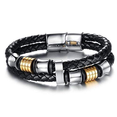 Jewellery Bracelets Bangle For Womens Punk Men Jewelry Braided Leather Bracelet Stainless Steel Magnetic Clasp Trendy Bangle Hiphop Male Wristband Gift-3_20.5Cm