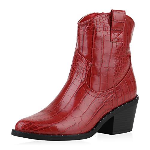 SCARPE VITA Damen Cowboy Boots Leicht Gefütterte Stiefeletten Nieten Cowboystiefel Western Schuhe Animal Print Westernstiefel 185309 Rot Kroko 37