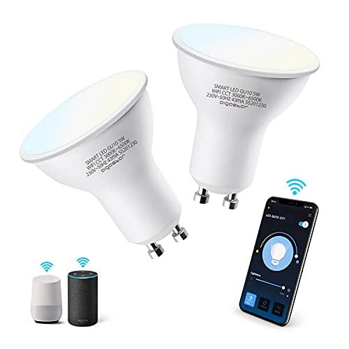 Aigostar Bombilla LED inteligente WiFi GU10, 5W. Regulables de luz cálida a blanca (3000 a 6500 K)....