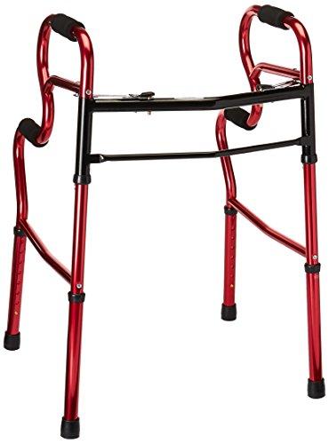 Medline MDS86410URR 3-in-1 Stand Assist Walker, Red (Pack of 2)