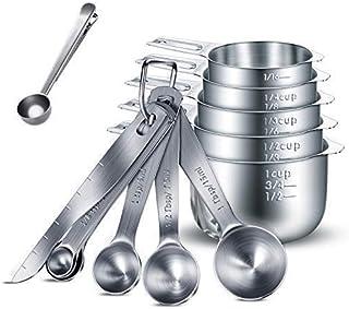 HENSHOW Juegos de cucharas medidoras, 13 Piezas Premium 304 de Acero Inoxidable Cuchara dosificadora/Taza medidora/Regla de medición para el ladrido Mida Las raciones secas y el líquido