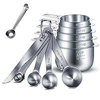 henshow set di 13 pezzi misurini e cucchiai dosatori, 304 eccellenti misurini in acciaio inossidabile/righello misuratore per misurare razioni a secco e liquidi, gratuito cucchiaio con clip