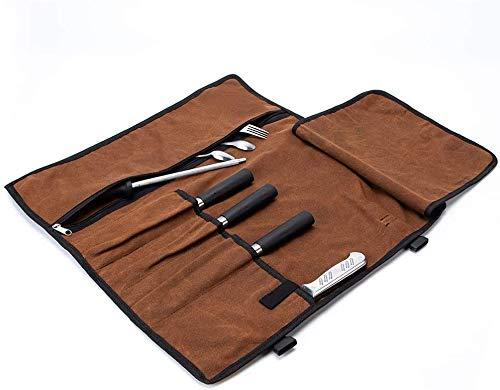 TUYU Sacoche à Couteaux De Cuisine Sac Pliable de Couteau En Toile Cirée 4 Emplacements avec 1 Poche zippée