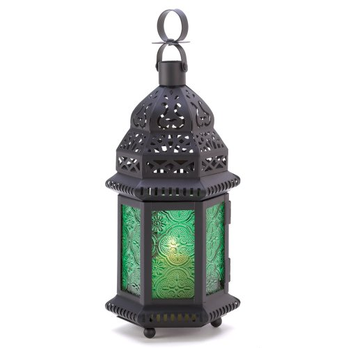 Gifts & Decor Green Glass Moroccan Candle Holder Hanging Lantern