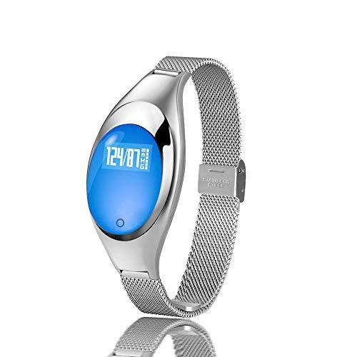 YIGIAO Reloj Inteligente Z18 Pulsera de Banda de Moda para Mujer Monitor de Ritmo cardíaco Podómetro Fitness Tracker Reloj para Android iOS-Silver