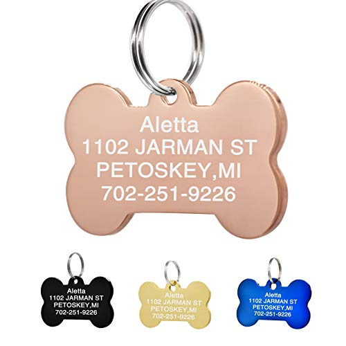 Amlion Personalized Engraved Dog Tags, Custom Dog Cats Tags, Stainless Steel Pet Id Tags, Double-Sided Engraved, Bone, Rectangle, Round, Heart Shape(5 Colors) (Regular Bone, Rose Gold)
