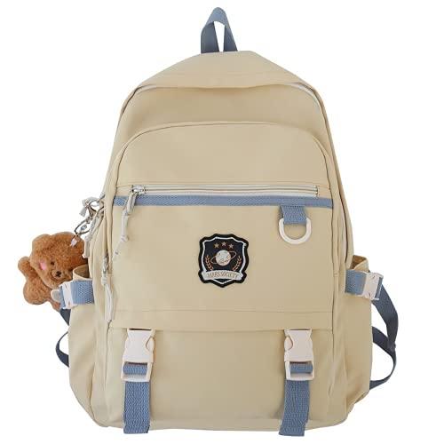 MINGPAI Mochila de nailon lindo cuaderno libro mochila escolar femenina mochila de viaje femenina impermeable chica estudiante universitario mochila escolar moda (beige,43 * 31 * 14CM)