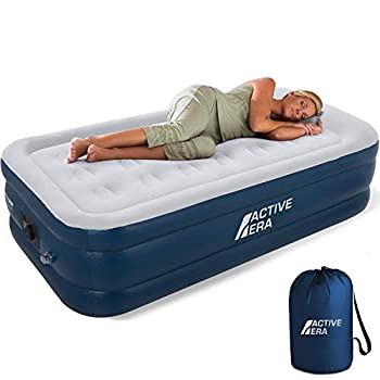 Active Era Premium Twin Air Mattress with Built in Pump and Raised Pillow - Elevated Inflatable Mattress 75  x 39  x 18  - Puncture Resistant Blow Up Mattress Air Bed with Waterproof Flocked Top