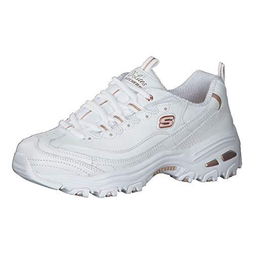 Skechers Sneaker für Damen D'Lites, Schnürschuh mit Rückstellschaum, Wei� (Weiß/Rotgold), 42 EU