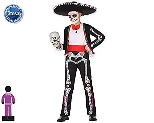 Atosa-55631 Disfraz Esqueleto para Niño Infantil, color negro, 5 A 6 Años (55631)