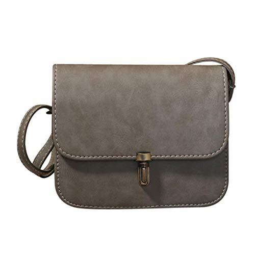 Damen Kleine Tasche Elegant,2018 Dame Leder Satchel Handtaschen Schulter Taschen Kurier Crossbody Tasche (Grau)