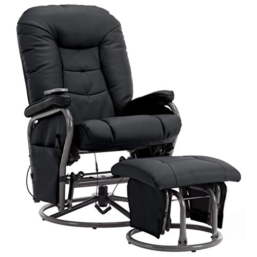 Festnight Massage Liegesessel mit Fußhocker Fernsehsessel Sessel mit Hocker Relaxsessel TV-Sessel Massage mit Wärmefunktion und Schaukelfunktion Schwarz Kunstleder