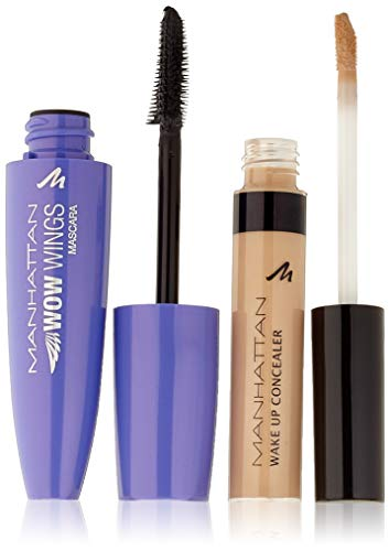 Manhattan WOW Wings Mascara 1010N Black + Wake Up Concealer 03 True Ivory, 19 ml