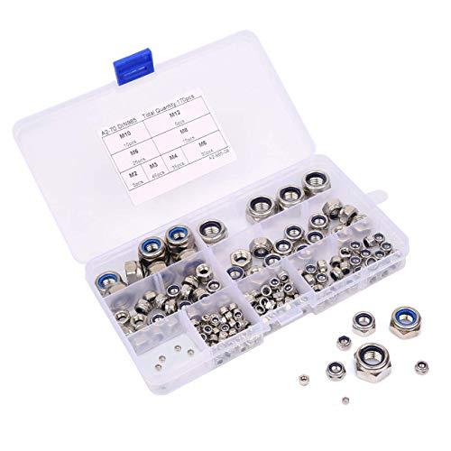 BETOY Tuercas de seguridad de nylon Tornillos De Fijación, inserto de nylon, juego de tornillos surtidos con caja de plástico, M3, M4, M5, M6, M8, M10, M12