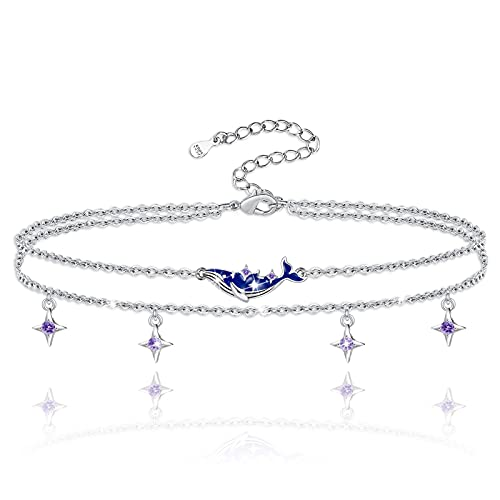 S925 Sterling Silver Whales Star Foot Anklet Bracelet Whale Pendant Charm Adjustable Layered Anklet Foot Sea Beach Jewelry Best Gifts for Mom Women Girls Whale Lovers Birthday Gift