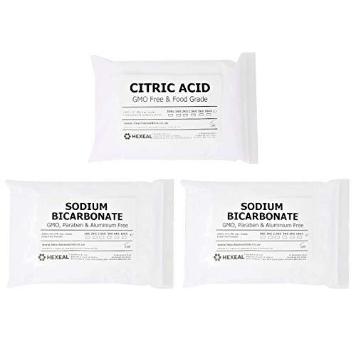 BATH BOMB KIT | 3KG | 1KG Citric Acid + 2KG Sodium Bicarbonate | BP/Food...