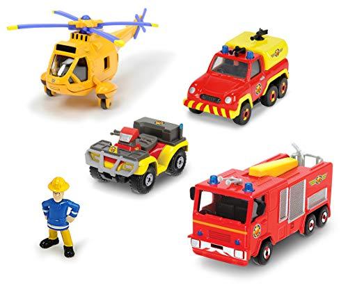 Dickie Toys Feuerwehrmann Sam Fire Rescue Team Set, Garagen Spielset mit Zubehör, Feuerwehrstation, inkl. 4 Autos aus Metall, z.B. Jupiter, Mercury, Venus, Wallaby 2, Figur Sam