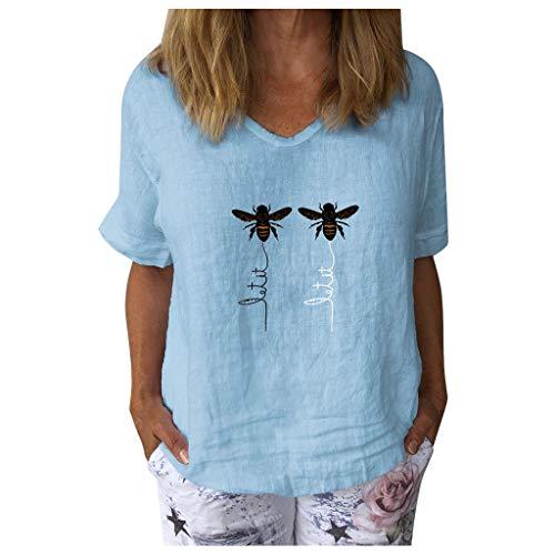 YANFANG Camiseta Talla Grande Mujer, Camiseta de Manga Corta con Estampado de Abejas y Cuello en V para Mujer, Blusa Informal Suelta