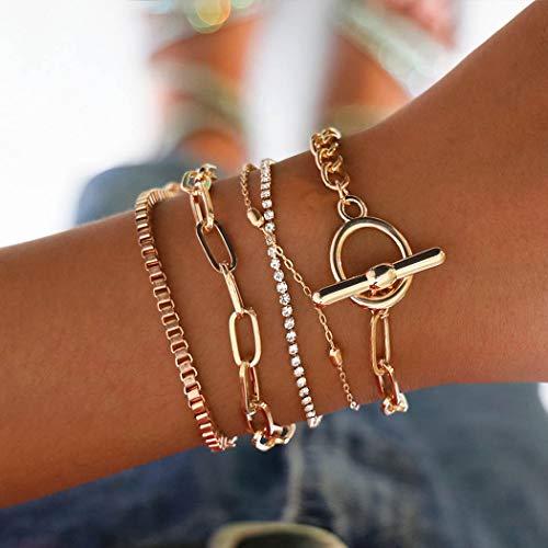 Handcess Punk Pulseras Pulsera de cristal dorado Vintage Cadena de mano Accesorios de mano para mujeres y niñas (oro)