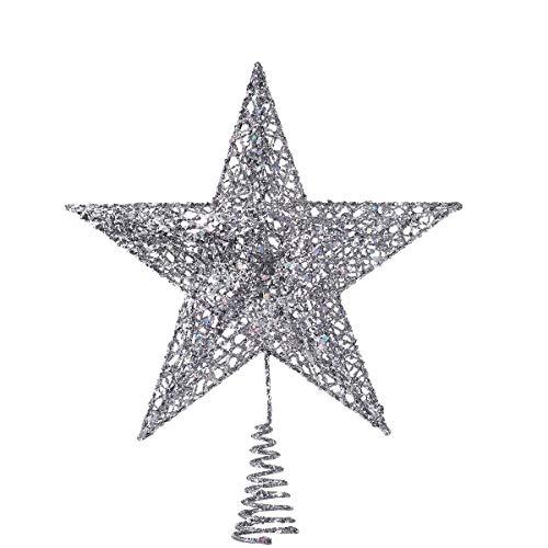 NICEXMAS - Estrella plateada de 5 puntas para colocar en la copa del árbol de Navidad, adorno brillante y elegante, 20 cm