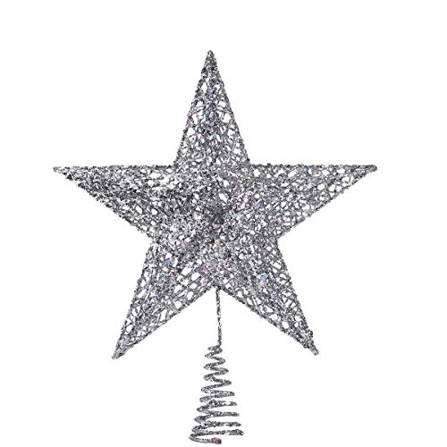 NICEXMAS 20cm Silver Star Tree Topper Exquisite Shimmery Star Christmas Tree Topper Christmas Tree Decoration 5 Point Star Treetop Decor