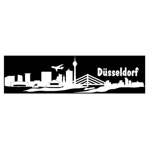 Skyline4u Aufkleber Düsseldorf mit Sehenswürdigkeiten in 8 Größen und 25 Farben (20x5,1cm weiß)