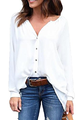 Sunfury Sexy Deep V Neck Shirt for Juniors Casual Fall Button Up Tunic Tops White Small