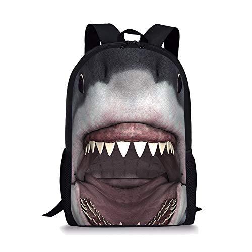 POLERO - Mochila para niños, diseño vintage de campus Multicolor Boca de tiburón 44x28x13cm