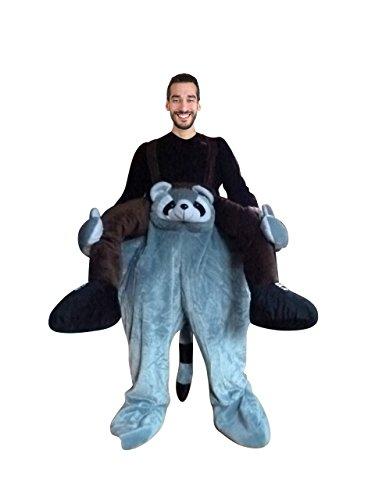 Waschbär-Kostüm, F107, Gr M-L, Wasch-bär Kostüme Wasch-bären Kostüme Faschingskostüm, Fasching Karneval, Fasnachts-Kostüme Tier-Kostüme, Faschings-Geschenk Erwachsene, Huckepack-kostüm, Männer-Kostüm
